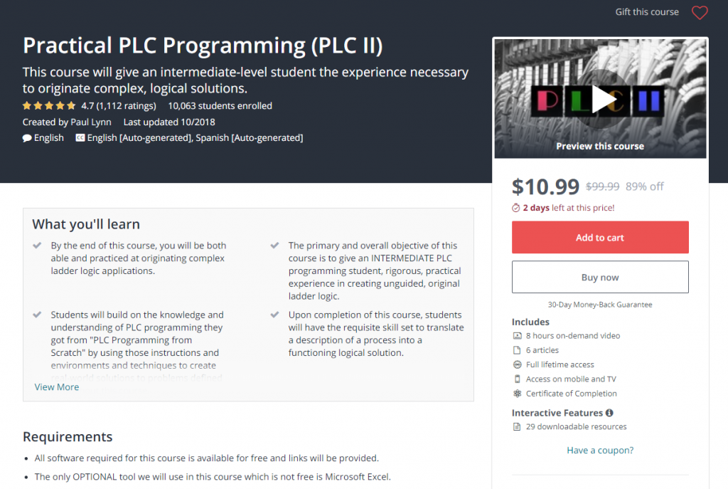 udemy plc course review